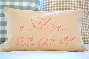Child's Name And Date Cushion