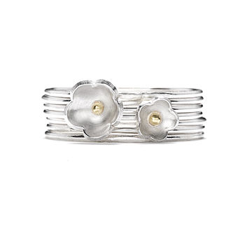 Daisy Two Flower Stack Ring