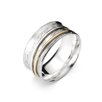 Silver And Gold Concave Diary Ring