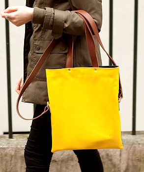 Yellow Brown Belmont Leather Messenger Bag