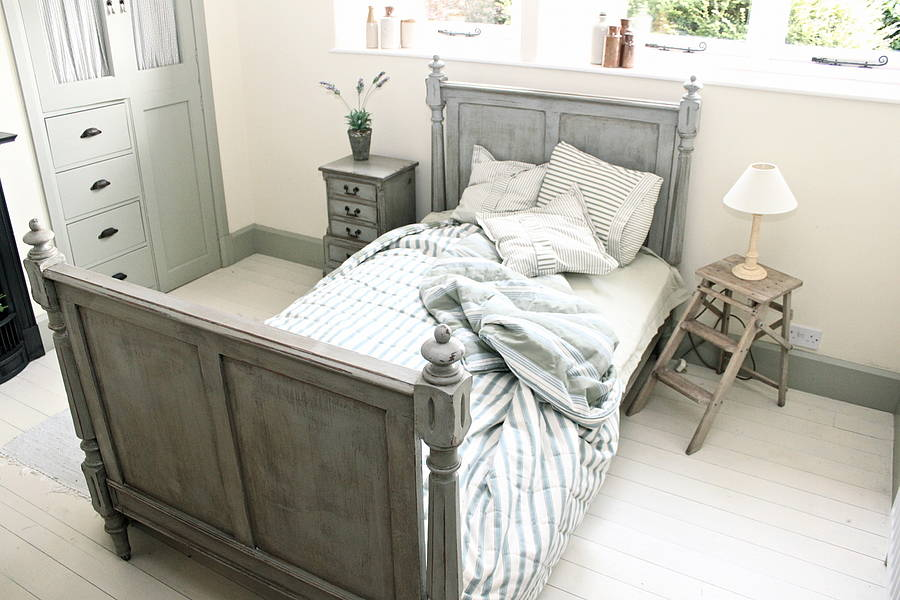 french style pitch pine three-quarter bed by distressed but not ...