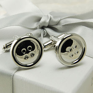 Silver Button Cufflinks - wedding jewellery