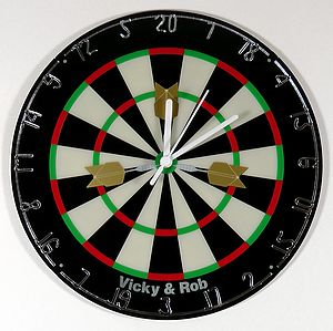 Personalised Dartboard Clock - clocks
