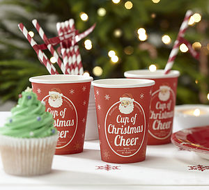 Vintage Inspired Christmas Paper Cups - christmas parties & entertaining