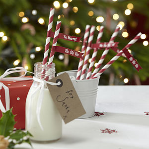 Christmas Stripey Paper Straws With Flags - last-minute christmas decorations