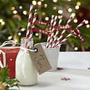 Christmas Stripey Paper Straws With Flags