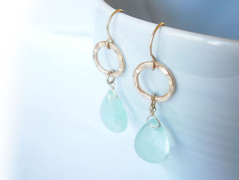 Precious Stone Teardrop Earrings