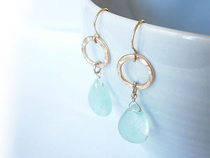 Precious Stone Teardrop Earrings - earrings
