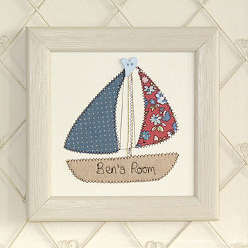 Personalised Boat Embroidered Artwork