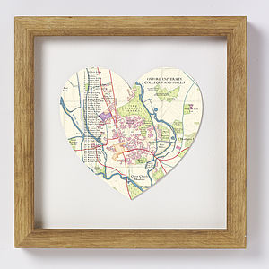 Oxford Map Heart Print