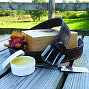 Liskeard Handmade Leather Belt Boxed Gift Set