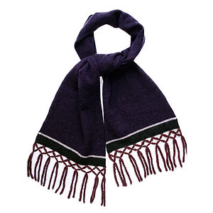 Damson Knitted Lambswool Scarf - hats, scarves & gloves