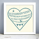 Personalised New Baby Heart Print (Sage green)