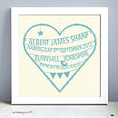 Personalised New Baby Heart Print (Bonny Blue)