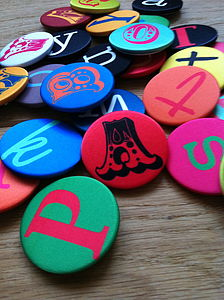 Design Your Own Satin Alphabet Badge - pins & brooches