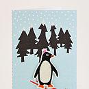 Pack Of Six Embellished Felt Penguin Cards
