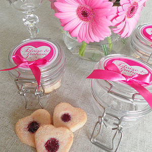 Personalised Cherry Heart Biscuit Favour Jars - cakes & treats