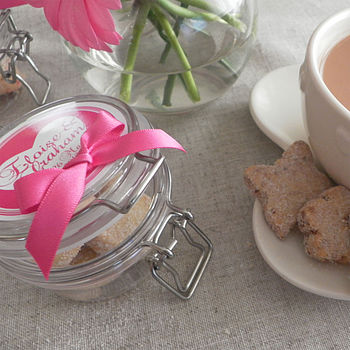 Personalised Cranberry Shortbread Favour Jars