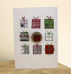 Hand Embroidered Christmas Badge Card - christmas cards