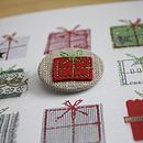 Hand Embroidered Christmas Badge Card