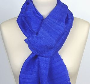 Cobalt Blue Silk Scarf - scarves & gloves
