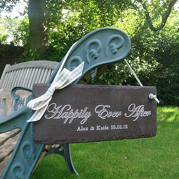Personalised wedding sign in engraved slate