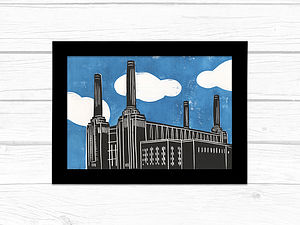 London Battersea Power Sation Lino Print