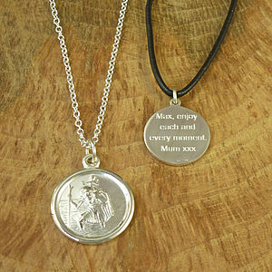 St Christopher Medal Necklace - personalised