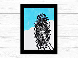 London Eye Lino Print
