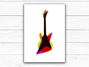 Overlapping Guitar Art Print