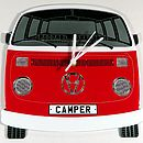 Red Campervan Wall Clock