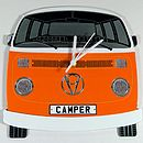 Orange Campervan Wall Clock
