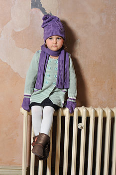Bamboo Cable Knit Hat, Scarf & Mittens Set