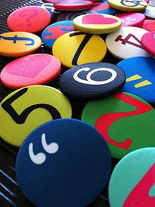 Design Your Own Satin Number & Symbol Badges - children's jewellery