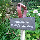 Personalised Garden Sign in Engraved Slate