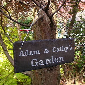 Personalised Engraved Slate Garden Sign - gifts for her