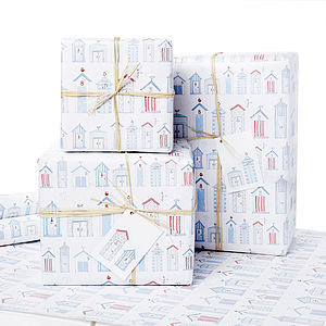 Dorset Beach Hut Gift Wrap - ribbon & wrap