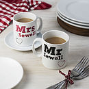 Personalised 'Mr' And 'Mrs' Mug Set