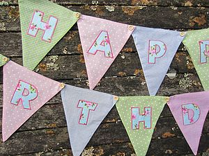 Girls Happy Birthday Bunting - decorative accessories