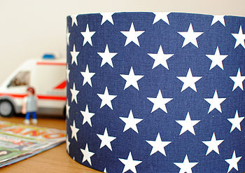Handmade Blue Stars Lampshade (Close up)