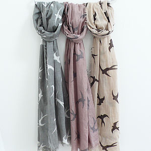 Swallow Print Cotton Scarf - scarves & gloves