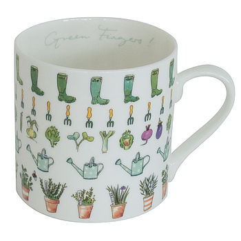 Green Fingers Gardening China Mug
