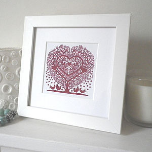 Miniature Treeheart With Songbirds Print - posters & prints