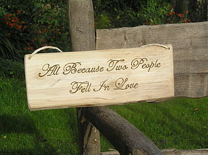 All Because Two People Fell In Love Wooden Sign - outdoor decorations