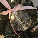 Personalised Papercut Christmas Bauble - Powder Pink Satin Ribbon