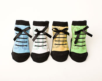 Set Of Four Hiking Boot Baby Socks