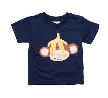Boy's Navy Monkey Applique T Shirt