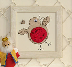 Personalised Robin Embroidered Framed Artwork - baby's first christmas