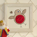 Personalised Robin Embroidered Plaque