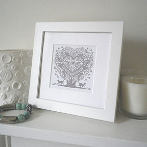 Miniature Cats In A Treeheart Print